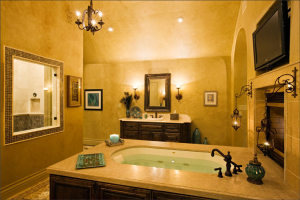bathroom remodeling tub, fireplace, walk-inshower