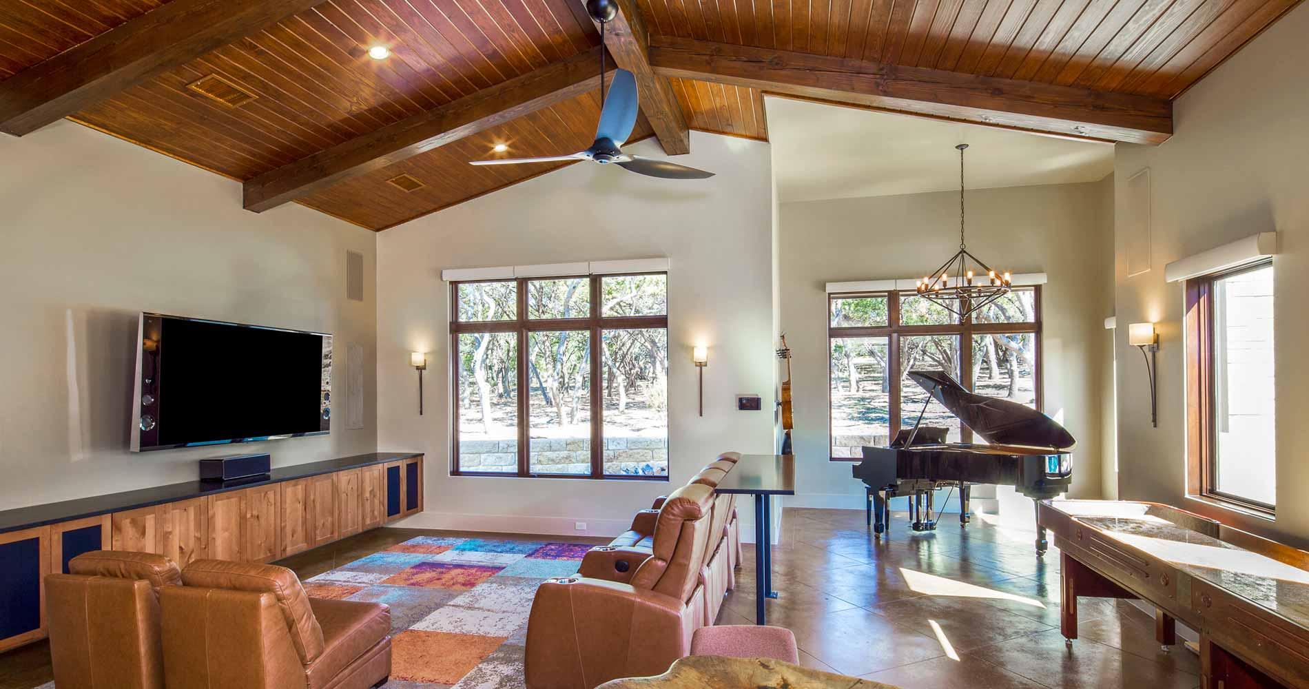 modern prairie-style home family room