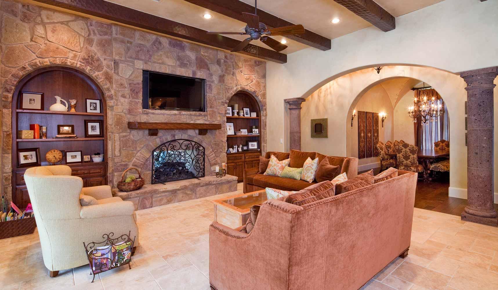 custom Tuscan living room