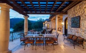 Lakeside Mediterranean style patio
