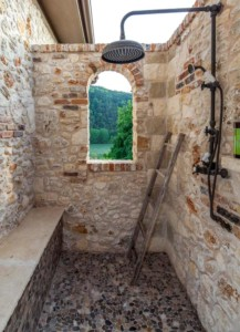 Lakeside Mediterranean style pool shower