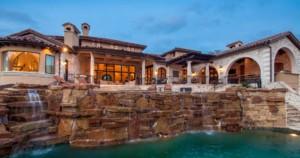 Lakeside Mediterranean style waterfall