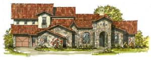 mediterranean villa front view