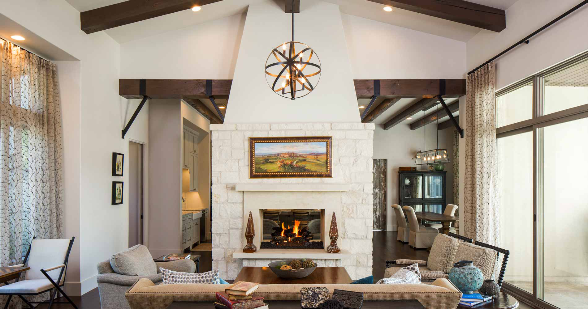 Texas farmhouse transitional living room