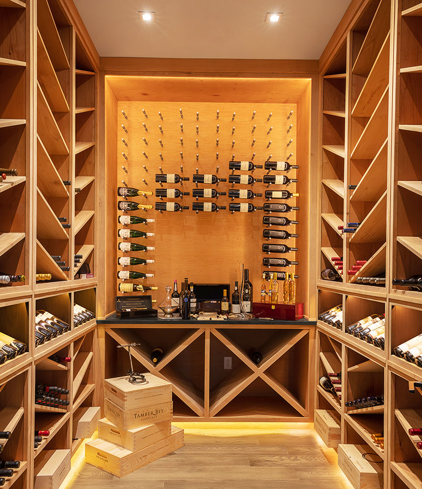 modern Texas transitional wine room